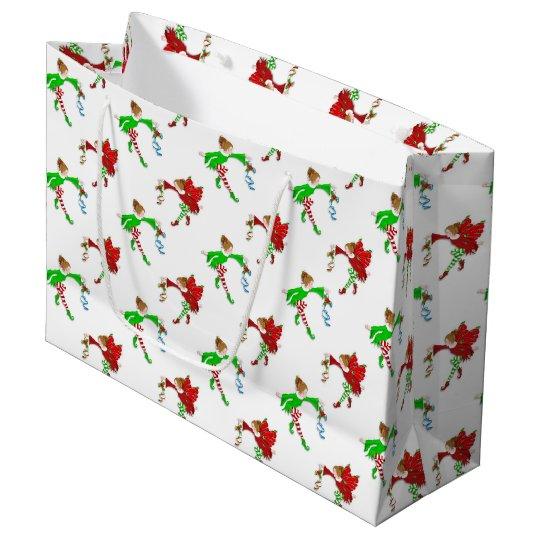 Christmas elf pattern large gift bag
