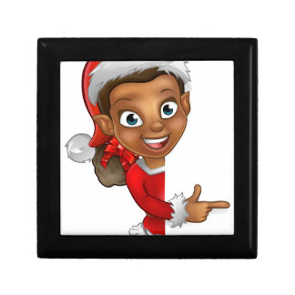 Christmas Elf Pointing Small Square Gift Box