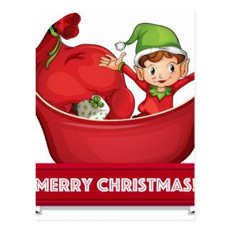 Christmas elf postcard