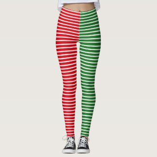 Christmas Elf Red and Green Striped Leggings