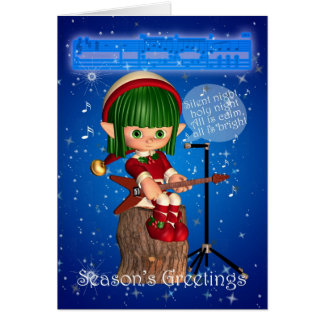 Christmas Elf Singing Silent Night Greeting Card