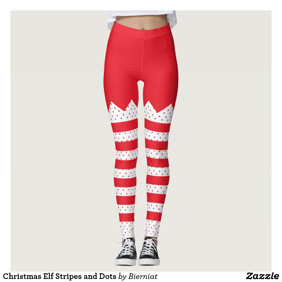Christmas Elf Stripes and Dots Leggings