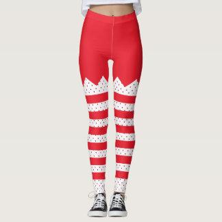 Christmas Elf Stripes and Dots Leggings