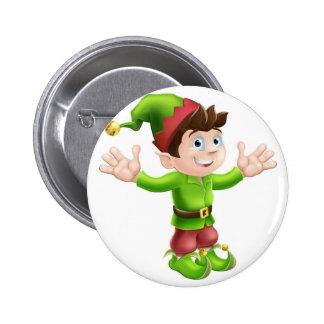Christmas elf waving 6 cm round badge