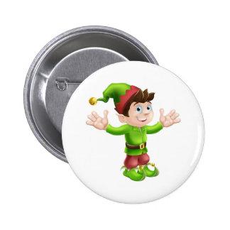 Christmas elf waving pinback button