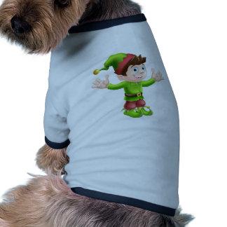 Christmas elf waving dog tshirt