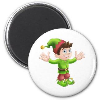 Christmas elf waving refrigerator magnet
