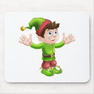 Christmas elf waving mousepads