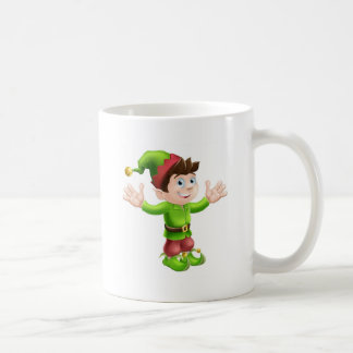 Christmas elf waving mugs