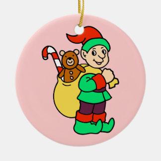 Christmas elf with bag of toys round ceramic decoration