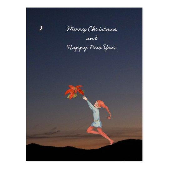 Christmas elf with poinsettia on dark blu sky