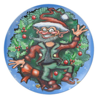 Christmas Elf with wreath Plate
