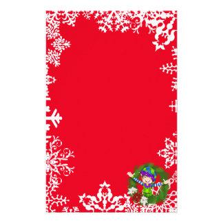 Christmas elf wreath Holiday stationery