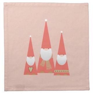 Christmas Elves Cloth Napkins (pink)