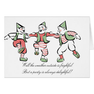 """""""Christmas Elves Dancing"""" Holiday Party Invitation"""