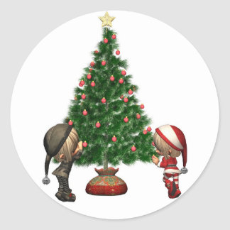 Christmas Elves - decorate the tree Round Sticker