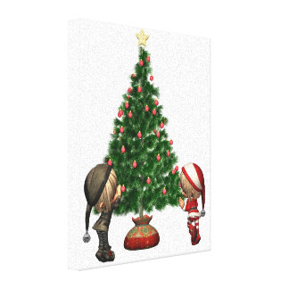 Christmas Elves - decorate the tree Stretched Canvas Prints