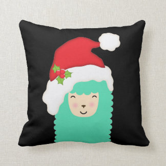 Christmas Emoji Llama Holiday Throw Pillow