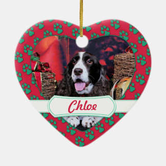 Christmas - English Springer Spaniel - Chloe Ceramic Heart Decoration