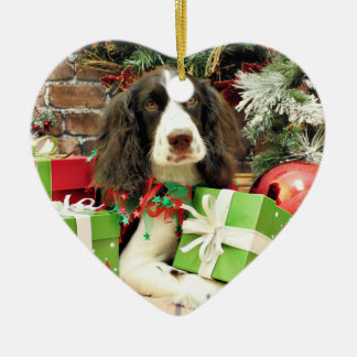 Christmas - English Springer Spaniel - Kinzie Ceramic Heart Decoration