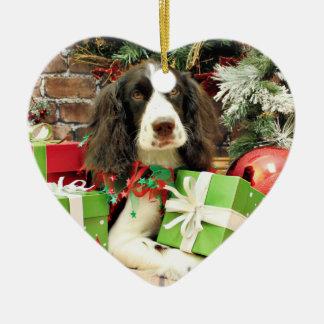 Christmas - English Springer Spaniel - Kinzie Ceramic Heart Decoration