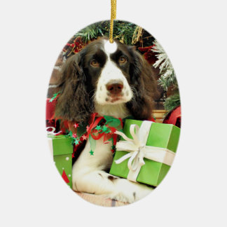 Christmas - English Springer Spaniel - Kinzie Ceramic Oval Decoration