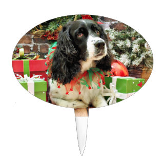 Christmas - English Springer Spaniel - Lucy Oval Cake Toppers