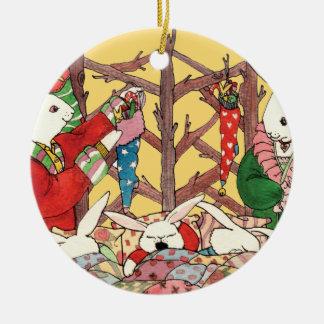 Christmas Eve Bunnies Christmas Ornament