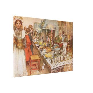 Christmas Eve by Carl Larsson, Vintage Holidays Stretched Canvas Prints
