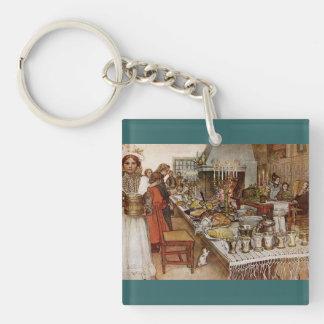 Christmas Eve Julaftonen Double-Sided Square Acrylic Key Ring