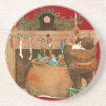 Christmas Eve Santa Claus Fireplace Drink Coaster