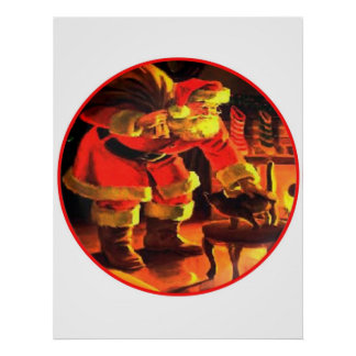 Christmas Eve Santa Claus with Cat White Backgroun Poster