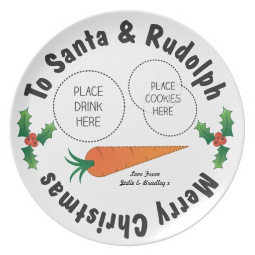 Christmas Eve Santa Rudolph Personalised Kids Dinner Plates Zazzle