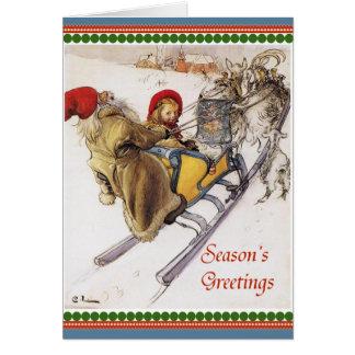 Christmas Eve Sleigh Ride Vintage Card