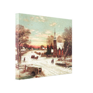 """Christmas Eve Winter Scene"" canvas print"