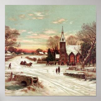 Christmas Eve Winter Scene poster print