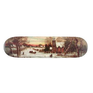 Christmas Eve Winter Scene skateboard