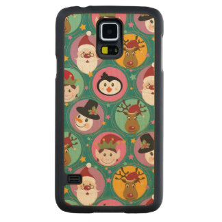 Christmas faces pattern carved maple galaxy s5 case