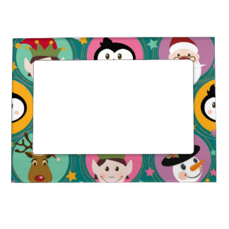 Christmas faces pattern magnetic picture frame