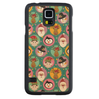 Christmas faces pattern maple galaxy s5 slim case