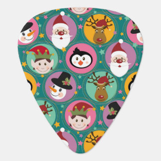 Christmas faces pattern plectrum