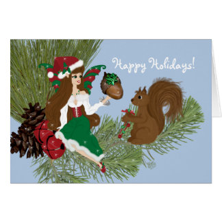 Christmas Faery and Squirrel Card
