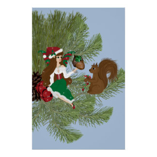 Christmas Faery and Squirrel Gift Giving Print