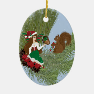 Christmas Faery and Squirrel Ornament