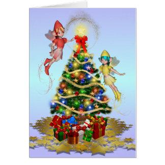 Christmas Fairies Decorating the Tree Greeting Card