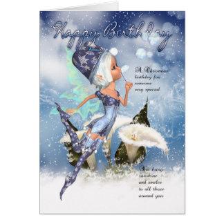 Christmas, Fairy Birthday Card - Fairy Blowing Bub