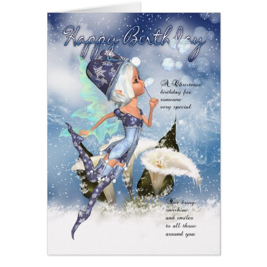 Christmas, Fairy Birthday Card - Fairy Blowing Bub
