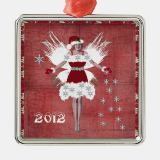Christmas Fairy Silver-Colored Square Decoration