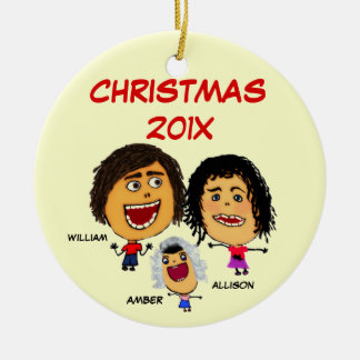 Christmas Family of Three Cartoon Christmas Ornament