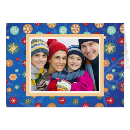 Christmas Family Photo Bright Blue Snowflakes Card